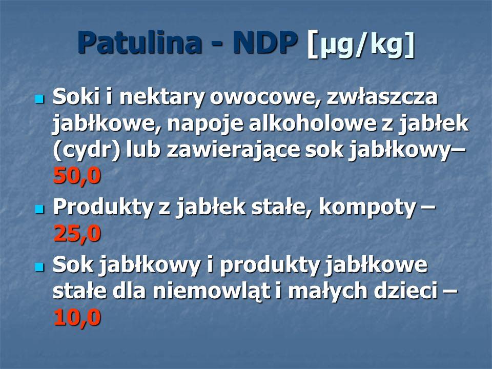 Patulina - NDP [μg/kg] Soki i nektary owocowe, zwłaszcza jabłkowe, napoje alkoholowe z jabłek (cydr) lub zawierające sok jabłkowy–50,0.